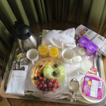 Complimentry breakfast brought to our room