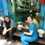 Jeremy (left) took us to the traditional Tabla makers of Varanasi: Chelsea got to try playing on
