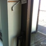 the handle of the balcony door
