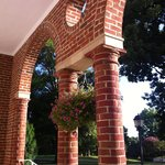 View of the brick columns on the porch.