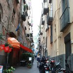Tipicaly Naples streets; narrow streets; dry the laundry on balconies