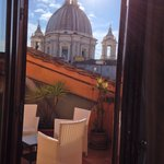 The rooftop terrace of room 401 with a view of Sant'Agnese in Agone at Piazza Navona.