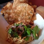 hummus with lamb flatbread