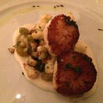 Scallops, cauliflower, capers, grape, puréed cauliflower , sliced almonds