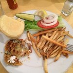 My crabcake sandwich with fries. Since they wouldn't serve me a crabcake appetizer I just ordere