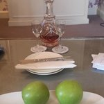 Free Sherry and Fruit in Room