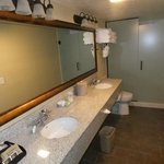 Our huge bathroom with two sinks.