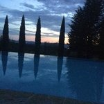 sunset by pool