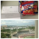 View from 1405 (14th floor- corner room) & hotel basket for the Baseball game