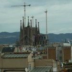 Great view of Familia Sagrada Cathedral from our hotel room window