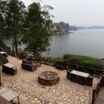 photo from the balcony overlooking the patio and Lake Bunyoni
