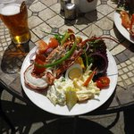 beautiful salad and local lobster
