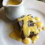 Sticky Toffee Pudding with the specially made custard