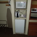 Fridge, Microwave and Kuerig Coffeemaker