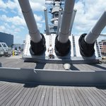 That's me being dwarfed by the 16 inch guns