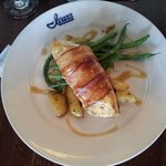 Halibut wrapped in bacon
