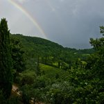 view from the room after the rainstorm with a beautiful rainbow