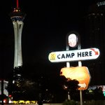 KOA sign at night, Stratosphere Tower nearby