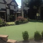 little putting green outside of the townhouses.