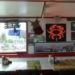 Neon crab with nice window view