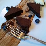 Charlotte's chocolate strega. Suggest that this be shared!