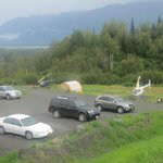 View of the parking lot - Cars and Helicopters