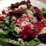 Strawberry Spinach Salad, Feta Cheese, Candied Pecans, Strawberries and Poppy Seed Dressing, $11