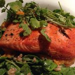 Pan Seared Sockeye Salmon, Spring Salad of Farro, Apricots, Mandarin Oranges & Spinach dressed i