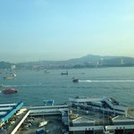 The view towards Kowloon and bridges linking all the islands ..