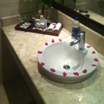 The Bathroom sink also covered in petals when we arrived