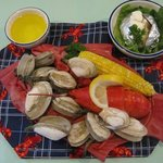 Lobster, Clams, Corn on the Cob and Baked Potato