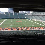 This is from the 'Press Box' view of Paul Brown(Bengals) Stadium--gasp!