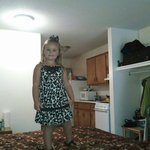 My granddaughter at our hotel the south wind