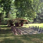 Grounds behind the B&B with lawn chess