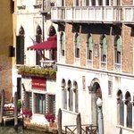 Hotel terrace (red awning) from Rialto Bridge