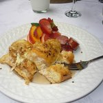 Pecan encrusted stuffed French toast and fruit