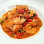 Seafood risotto with big, juicy shrimp and tender scallops
