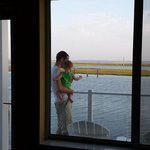 My husband & son checking out the morning view from our balcony.
