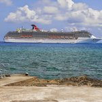 View of Carnival Legend from Eden Rock Diving Center