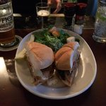 .Roast pork Sandwich...great taste. A little messy, but you're at a pub! Do it!
