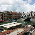 View from the hotels panoramic terrace looking out towards the Rialto Bridge.