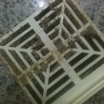 Dirty air filter in bathroom of room 301