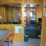 View from kitchen toward living room & 2 bedrooms in Aloha cabin