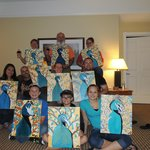 Some of the Bauer clan with their interpretations of a peacock