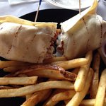 BBQ shrimp wrap with fries.A work of art