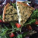 Seasonal courgette and mint quiche