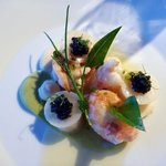 roasted langoustines, Asetra caviar, cream of parsley root, smoked butter