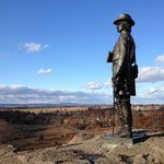 Brigadier General Warren surveys the valley from Little Round Top