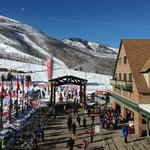 view from the restaurant to the main entrance to te slopes.