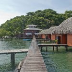 Pier going to restaurant and other bungalows
